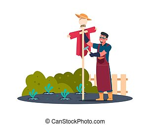 Gardener makes scarecrow in garden. Man builds scarecrow to protect harvest. Improving farm for pest control. Outdoors work and hobbies. Vector modern character flat isolated illustration