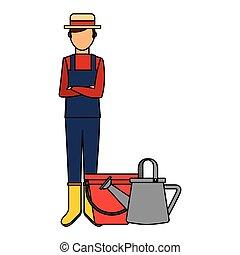 gardener man bucket and watering can with gardening