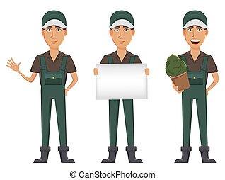 Gardener man, cartoon character in uniform