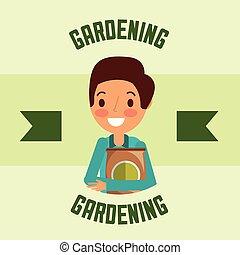 gardener man character fertlizer pack gardening image