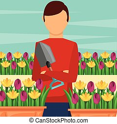gardener man holding shovel with potted flowers gardening
