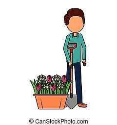 gardener man with shovel and flowers gardening