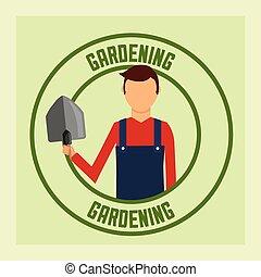 gardener man with shovel tool label gardening