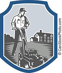 Gardener Mow Lawn Mower Woodcut Shield - Illustration of...