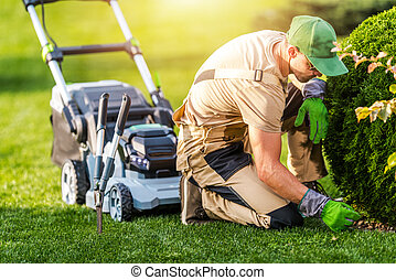 Gardener Mowing Grass and Cleaning Backyard Garden