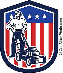 Gardener Mowing Lawn Mower Flag Retro - Illustration of male...