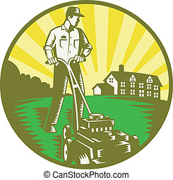 Gardener Mowing Lawn Mower Retro - Illustration of a...