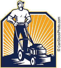 Illustration of male gardener mowing with lawn mower facing front done in retro woodcut style on isolated white background.