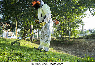 Gardener mowing the grass with lawn mower in the park