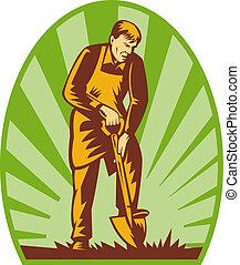 Gardener or farmer digging with shovel and sunburst in the background.