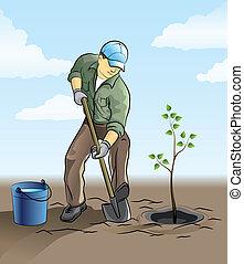 Gardener plant a tree - vector illustration