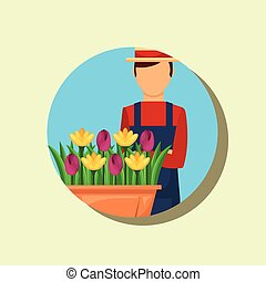 gardener portrait with hat and potted flowers gardening