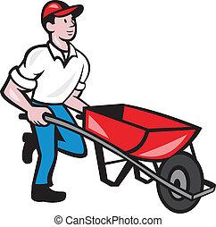 Gardener Pushing Weelbarrow Cartoon - Illustration of male...