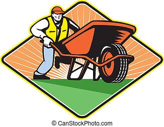 Illustration of male gardener walking pushing wheelbarrow viewed from front on low angle set inside diamond shape.