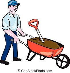Gardener Pushing Wheelbarrow Cartoon - Illustration of male...