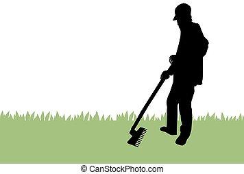Gardener raking grass, illustration