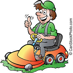 Gardener riding his lawnmower - Hand-drawn Vector...