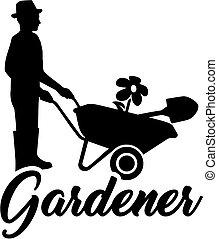 Gardener silhouette with wheelbarrow - Silhouette of a...