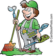 Gardener standing with tools - Hand-drawn Vector...