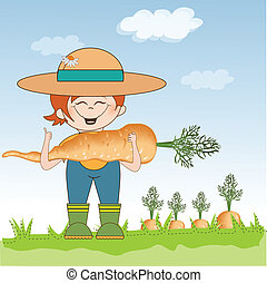 gardener to harvest carrots