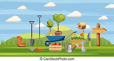 Gardener tools icons set, cartoon style