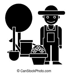 gardener - tree - shovel - watering can - bush icon, vector illustration, black sign on isolated background
