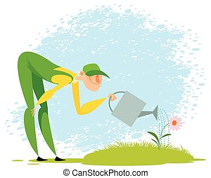 Gardener watering a flower