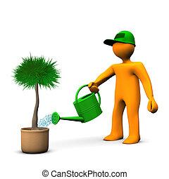 Gardener Watering Palm - Orange cartoon character watering a...