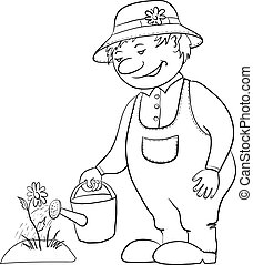 Man gardener waters a bed with a flower from a watering can, contour