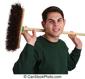Gardener with a broom