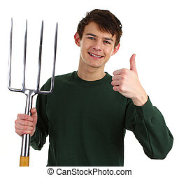 Gardener with a fork