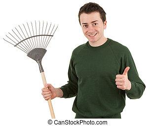 Gardener with a rake