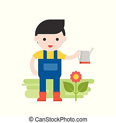 Gardener with flower and watering can, Set Profession character of people in uniform, flat design