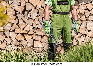Gardener with Large Scissors