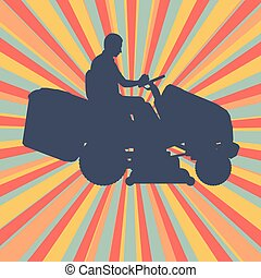 Gardener with lawn mower tractor cutting grass vector