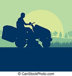 Gardener with lawn mower tractor cutting grass vector background