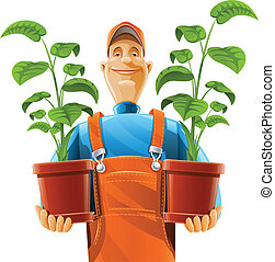 gardener with plant in flowerpot vector illustration...