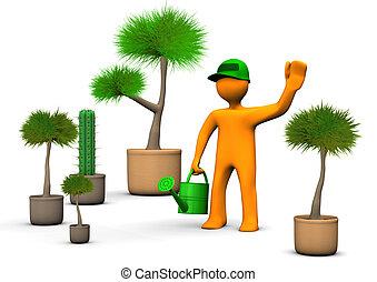 Gardener With Plants - Orange cartoon character gardener...