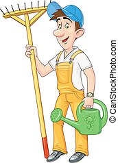 Gardener with rake and watering can. Working occupation. ...