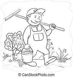 Gardener with rake in garden, contour - Vector, man gardener...