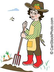 Gardener with spade - little gardener in the garden