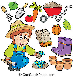 Gardener with various objects - vector illustration.