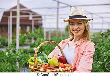Gardener with vegs