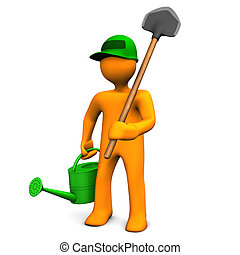 Gardener With Watering Can And Spade on the white...