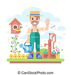 Gardener with watering can stands near water pump.