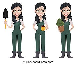 Gardener woman, cartoon character in uniform
