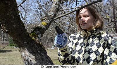 gardener woman cut twig