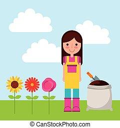 gardener woman icon - gardener woman cartoon icon over...