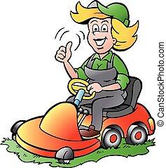 Gardener Woman riding a Lawnmower