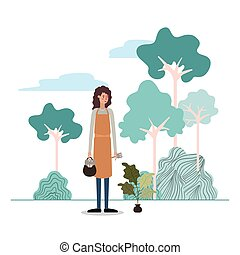 Gardener woman with plant and tools design
